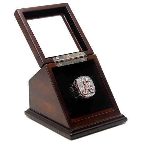 NCAA 2012 Alabama Crimson Tide Championship Replica Ring with Wooden Display Case