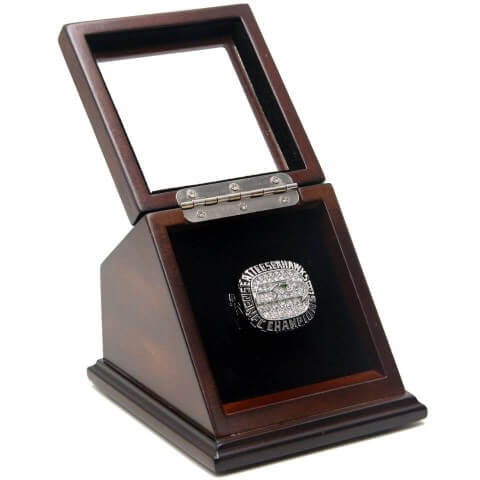 NFC 2014 Seattle Seahawks Championship Replica Fan Ring with Wooden Display Case