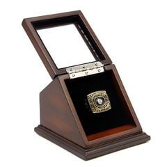 NFL 1974 Super Bowl IX Pittsburgh Steelers Championship Replica Fan Ring with Wooden Display Case