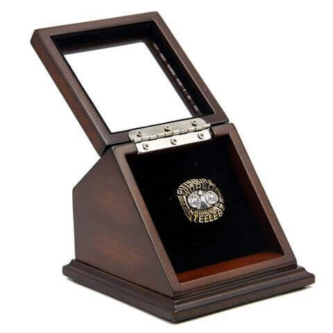 NFL 1975 Super Bowl X Pittsburgh Steelers Championship Replica Fan Ring with Wooden Display Case