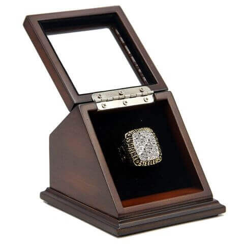 NFL 1978 Super Bowl XIII Pittsburgh Steelers Championship Replica Fan Ring with Wooden Display Case