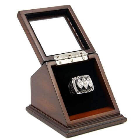 NFL 1983 Super Bowl XVIII Los Angeles/Oakland Raiders Championship Replica Fan Ring with Wooden Display Case