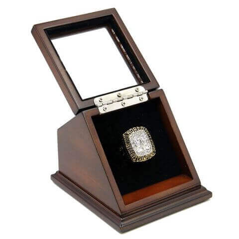 NFL 1984 Super Bowl XIX San Francisco 49Ers Championship Replica Fan Ring with Wooden Display Case