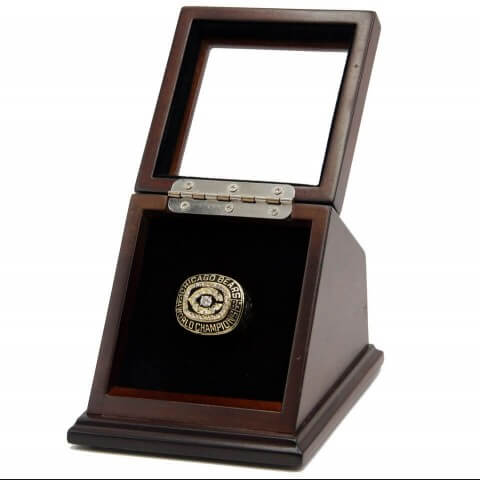 NFL 1985 Super Bowl XX Chicago Bears Championship Replica Fan 18K Gold Plated Ring with display case