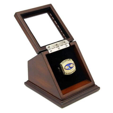 NFL 1990 Super Bowl XXV New York Giants Championship Replica Fan Ring with Wooden Display Case