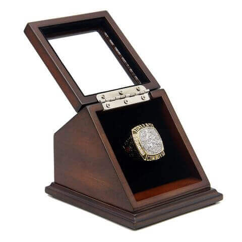NFL 1995 Super Bowl XXX Dallas Cowboys Championship Replica Fan Ring with Wooden Display Case