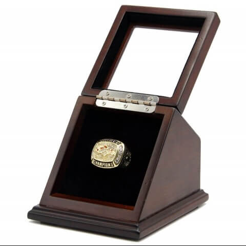 NFL 1997 Super Bowl XXXII Denver Broncos 18K Gold-Plated Championship Replica Fan Ring with Wooden Display Case