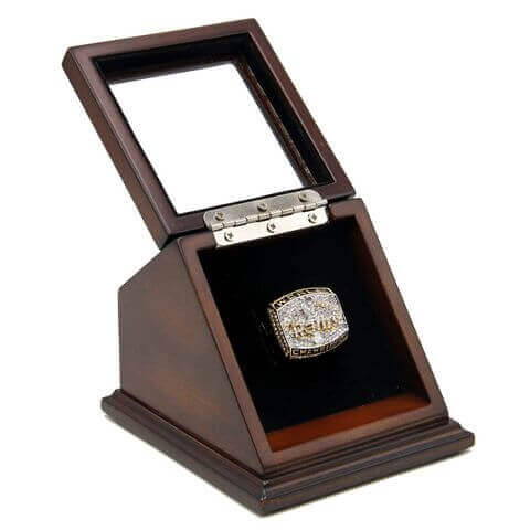 NFL 1999 Super Bowl XXXIV St. Louis Rams Championship Replica Fan Ring with Wooden Display Case