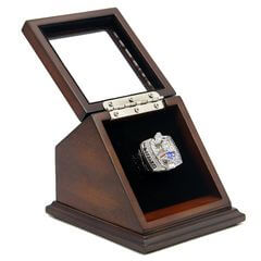 NFL 2003 Super Bowl XXXVIII New England Patriots Championship Replica Fan Ring with Wooden Display Case