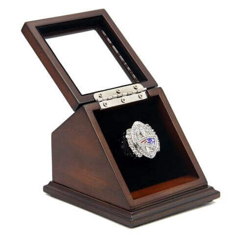 NFL 2004 Super Bowl XXXIX New England Patriots Championship Replica Fan Ring with Wooden Display Case