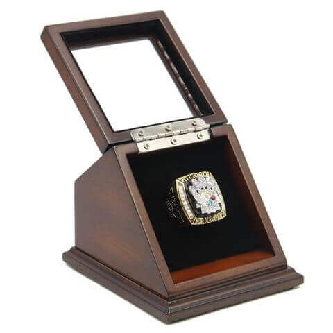 NFL 2005 Super Bowl XL Pittsburgh Steelers Championship Replica Fan Ring with Wooden Display Case