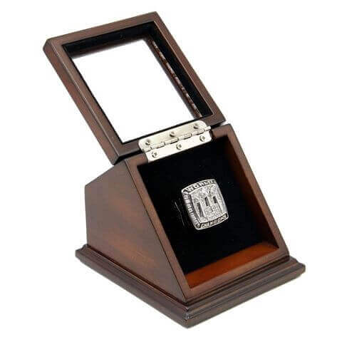NFL 2007 Super Bowl XLII New York Giants Championship Replica Fan Ring with Wooden Display Case - Manning