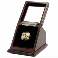 NFL 2009 Super Bowl XLIV New Orleans Saints 18K Gold-Plated Championship Replica Fan Ring with Wooden Display Case - Brees