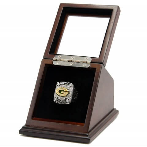 NFL 2010 Super Bowl XLV Green Bay Packers 18K Gold-Plated Championship Replica Fan Ring with Wooden Display Case - Rodgers