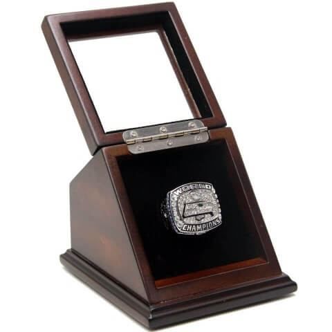 NFL 2013 Super Bowl XLVIII Seattle Seahawks Championship Replica Fan Ring with Wooden Display Case - Wilson