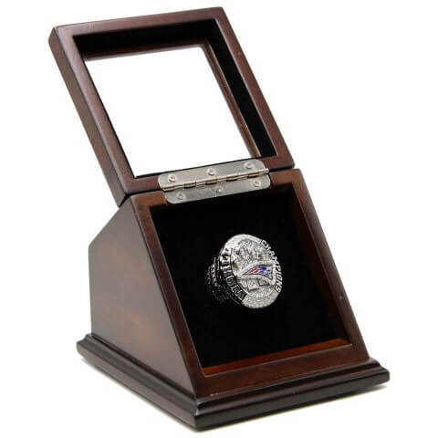 NFL 2014 Super Bowl XLIX New England Patriots Championship Replica Fan Ring with Wooden Display Case