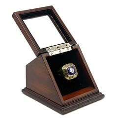 NHL 1984 Edmonton Oilers Stanley Cup Championship Replica Fan Ring with Wooden Display Case