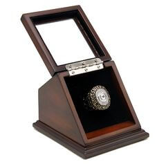 NHL 1985 Edmonton Oilers Stanley Cup Championship Replica Fan Ring with Wooden Display Case