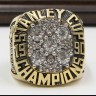 NHL 1990 Edmonton Oilers Stanley Cup Championship Replica Fan Ring with Wooden Display Case