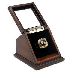 NHL 1992 Pittsburgh Penguins Stanley Cup Championship Replica Fan Ring with Wooden Display Case