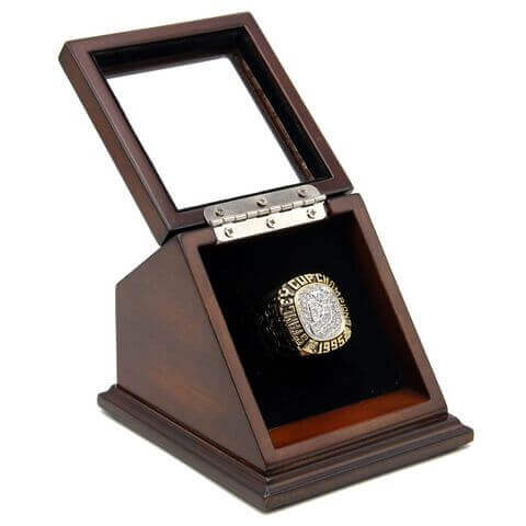 NHL 1995 New Jersey Devils Stanley Cup Championship Replica Fan Ring with Wooden Display Case