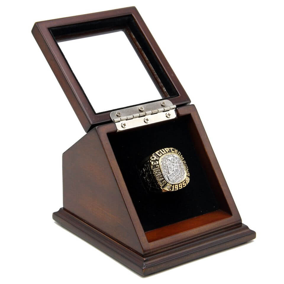 ce72a2f2a NHL 1995 New Jersey Devils Stanley Cup Championship Replica Fan Ring with  Wooden Display Case