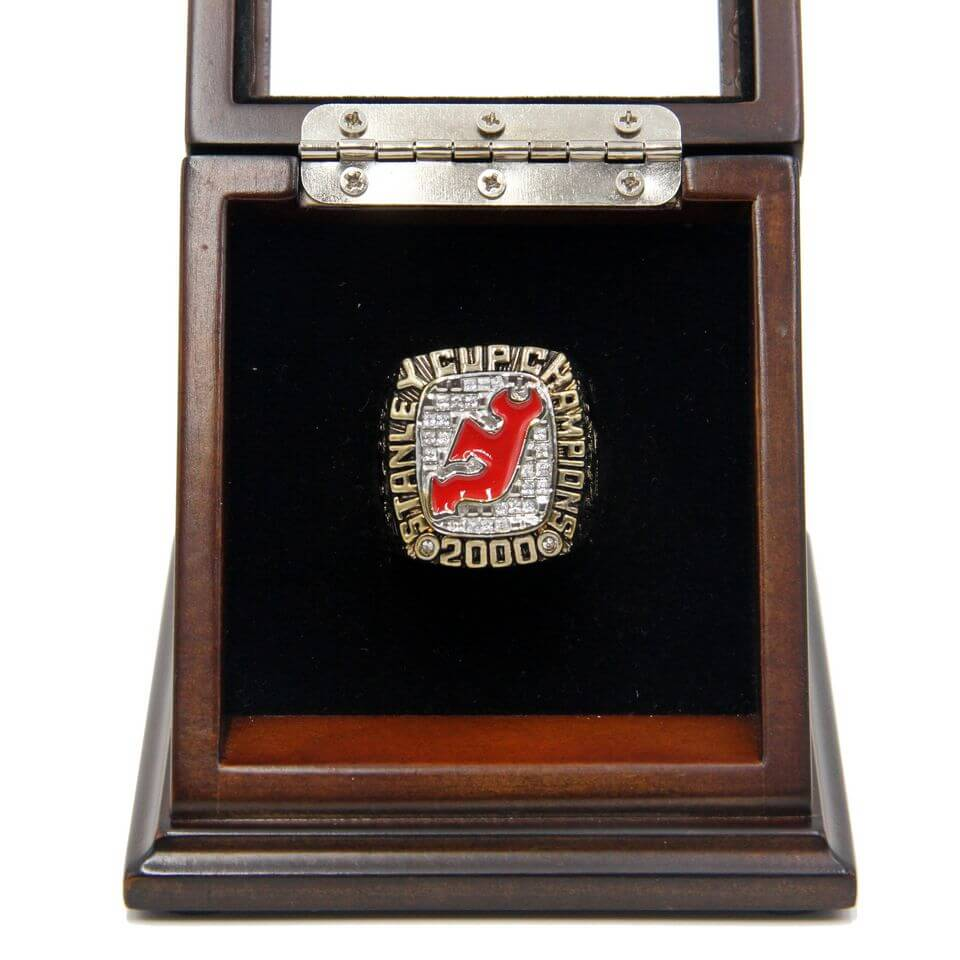 ... NHL 2000 New Jersey Devils Stanley Cup Championship Replica Fan Ring  with Wooden Display Case ... 09d8bc0ea