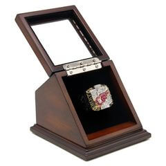NHL 2002 Detroit Red Wings Stanley Cup Championship Replica Fan Ring with Wooden Display Case