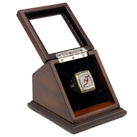 NHL 2003 New Jersey Devils Stanley Cup Championship Replica Fan Ring with Wooden Display Case