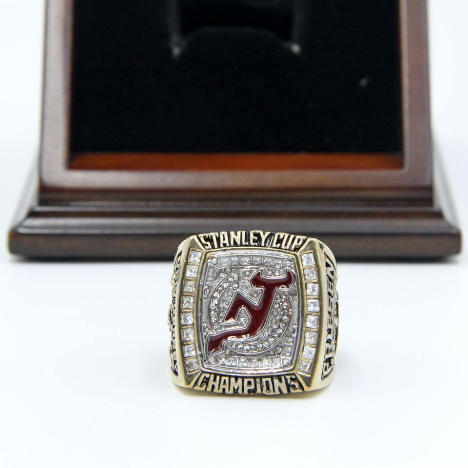 e1aeb7b90 ... NHL 2003 New Jersey Devils Stanley Cup Championship Replica Fan Ring  with Wooden Display Case ...