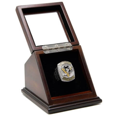 NHL 2016 Pittsburgh Penguins Stanley Cup Championship Replica Fan Ring with Wooden Display Case