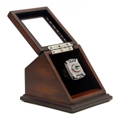 NFL 2010 Super Bowl XLV Green Bay Packers Championship Replica Fan Ring with Wooden Display Case - Rodgers