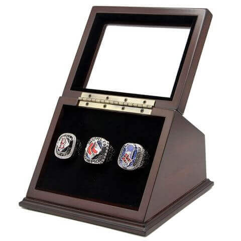 MLB 2004 2007 2013 Boston Red Sox World Series Championship Replica Fan Rings with Wooden Display Case Set