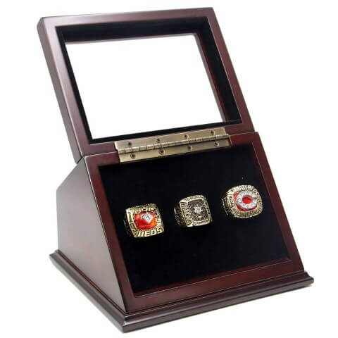 MLB 1975 1976 1990 Cincinnati Reds World Series Championship Replica Fan Rings with Wooden Display Case Set