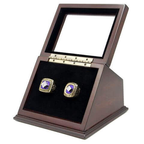 MLB 1981 1988 Los Angeles Dodgers World Series Championship Replica Fan Rings with Wooden Display Case Set