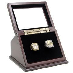 MLB 1997 2003 Florida Miami Marlins World Series Championship Replica Fan Rings with Wooden Display Case Set