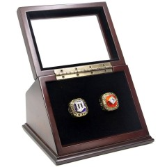 MLB 1987 1991 Minnesota Twins World Series Championship Replica Fan Rings with Wooden Display Case Set