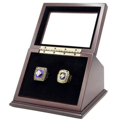 MLB 1969 1986 New York Mets World Series Championship Replica Fan Rings with Wooden Display Case Set