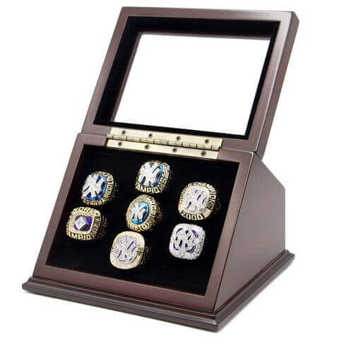 MLB 1977 1978 1996 1998 1999 2000 2009 New York Yankees World Series Championship Replica Ring with Wooden Display Cases Set