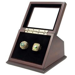 MLB 1974 1989 Oakland Athletics World Series Championship Replica Fan Rings with Wooden Display Case Set
