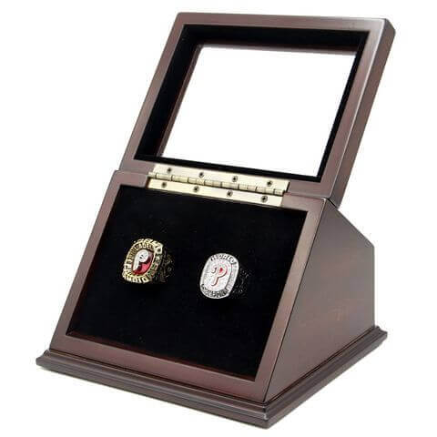 MLB 1980 2008 Philadelphia Phillies World Series Championship Replica Fan Rings with Wooden Display Case Set