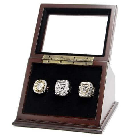 MLB 2010 2012 2014 San Francisco Giants World Series Championship Replica Fan Rings with Wooden Display Case Set