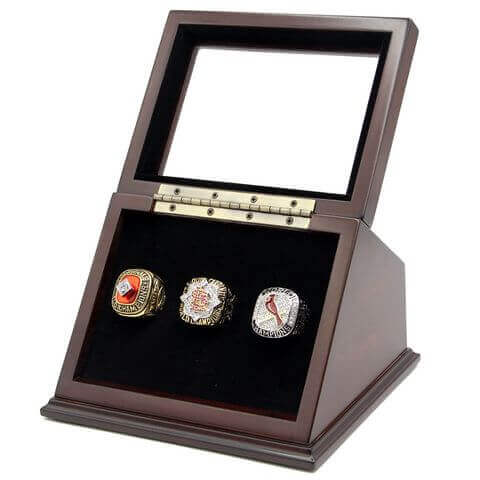 MLB 1982 2006 2011 St.Louis Cardinals World Series Championship Replica Fan Rings with Wooden Display Case Set