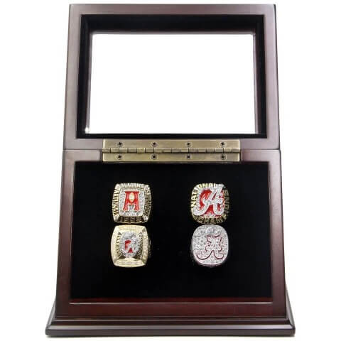 NCAA 1992 2009 2011 2012 Alabama Crimson Tide Championship Replica Fan Rings with Wooden Display Case Set