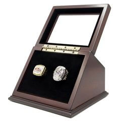NFL 2000 2012 Baltimore Ravens Super Bowl Championship Replica Fan Rings with Wooden Display Case Set