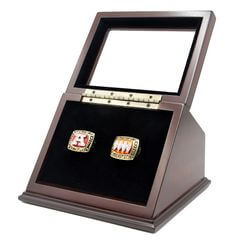 AFC 1991 1993 Buffalo Bills Championship Replica Fan Rings with Wooden Display Case Set