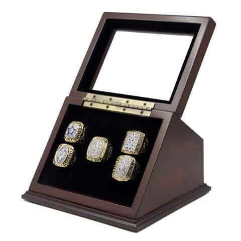 NFL 1971 1977 1992 1993 1995 Dallas Cowboys Super Bowl Championship Replica Fan Rings with Wooden Display Case Set