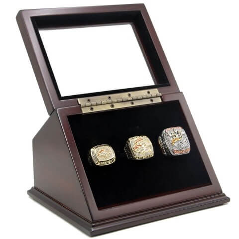 NFL 1997 1998 2015 Denver Broncos Super Bowl Championship Replica Fan Rings with Wooden Display Case Set