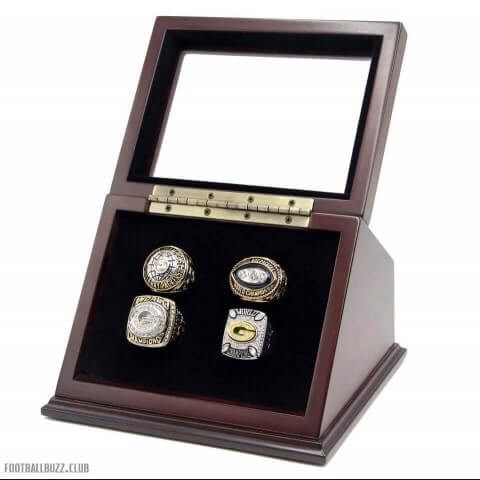 NFL 1966 1967 1996 2010 Green Bay Packers Super Bowl Championship Replica Fan Rings with Wooden Display Case Set