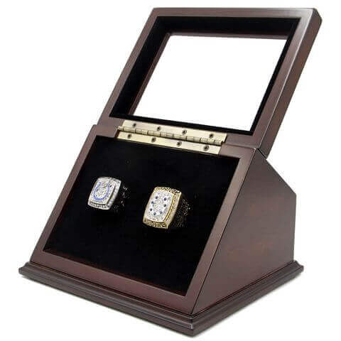 NFL 2006 2009 Indianapolis Colts Super Bowl Championship Replica Fan Rings with Wooden Display Case Set